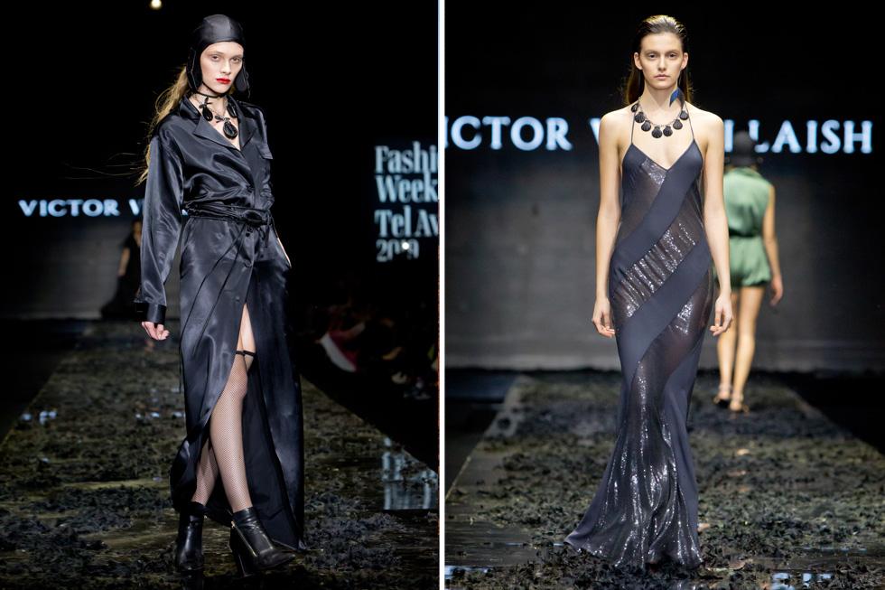שמלות סליפ מסתמנות כאחד הפריטים הבולטים של שבוע האופנה בתל אביב. כאן היא בפרשנות הסקסית של בלאיש לצד שמלת סאטן בגזרת חלוק, שלבשה הדוגמנית סתיו סטרשקו (צילום: ענבל מרמרי)