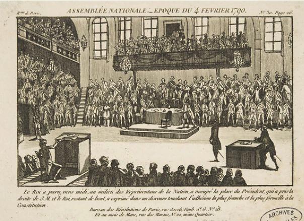 הכל התחיל מסידור מקומות הישיבה. האסיפה הלאומית של צרפת, פברואר 1790 (צילום: ויקיפדיה)