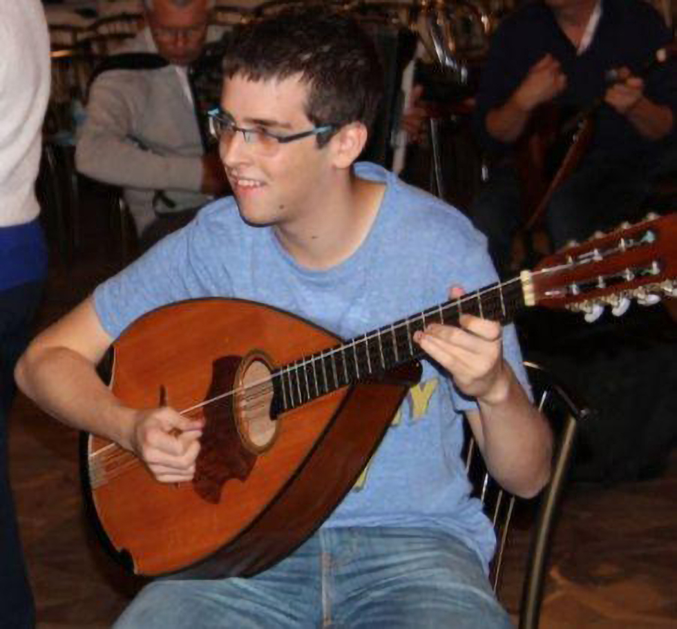 Gal Keidan playing his mandocello (Photo: Courtesy of the Be'er Sheva Conservatory)