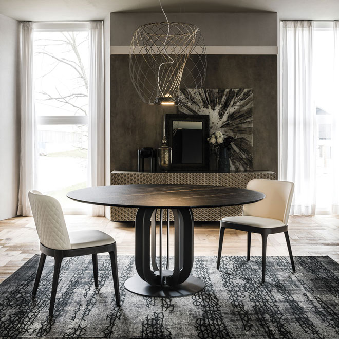 שולחן עם משטח קרמיקה המחקה סלע ציפחה (Cattelan Italia)