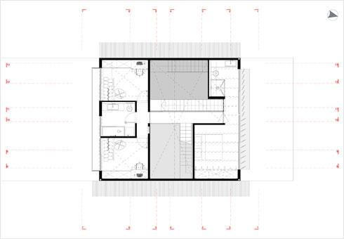תוכנית הקומה הראשונה, שבה סוויטת ההורים והחלק התחתון של חדרי הבנות (תוכנית: ארכ׳ עדי וינברג - סטודיו ארביג׳אז)