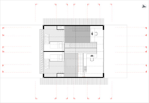 תוכנית קומת הגג, שבה גלרית השינה של הבנות ומשרד ביתי פתוח לחלל (תוכנית: ארכ׳ עדי וינברג - סטודיו ארביג׳אז)