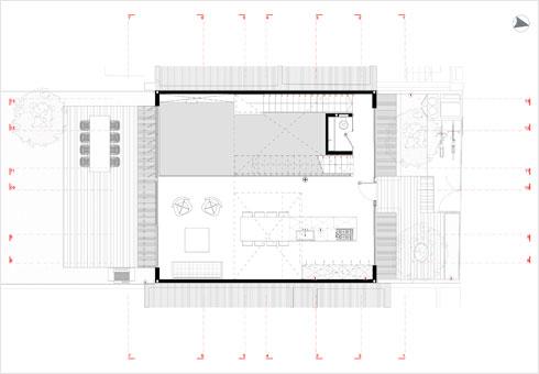 תוכנית קומת הכניסה, שבה המטבח (תוכנית: ארכ׳ עדי וינברג - סטודיו ארביג׳אז)