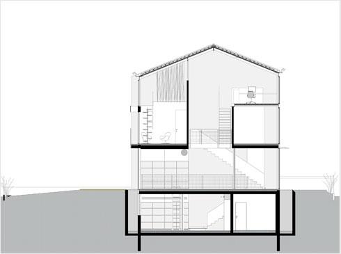 חתך הבית. תוכניות 4 הקומות - בסוף הכתבה (תוכנית: ארכ׳ עדי וינברג - סטודיו ארביג׳אז)