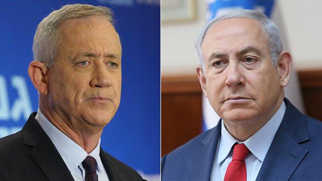 Benny Gantz and Benjamin Netanyahu (Photo: Motti Kimchi, Alex Kolomoisky)