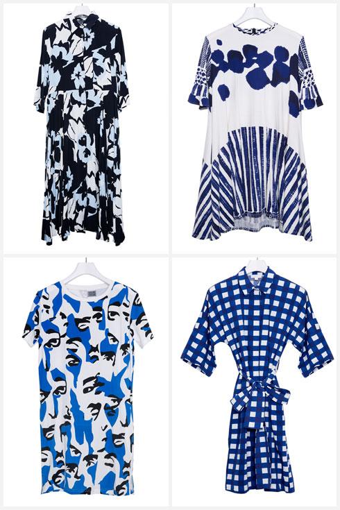 """שמלות בכחול ולבן: קוס, ונדר, אלמביקה וסטלה ולורי. """"אני אוהבת את שילוב הצבעים הזה, וחובבת הדפסים בפרט. לפני שאני בוחרת גזרה, תמיד אבחר את ההדפס. גם אם אמצא שמלה עם גזרה מחרידה והדפס מושלם – אקנה ואסתדר איתה""""  (צילום: ענבל מרמרי)"""