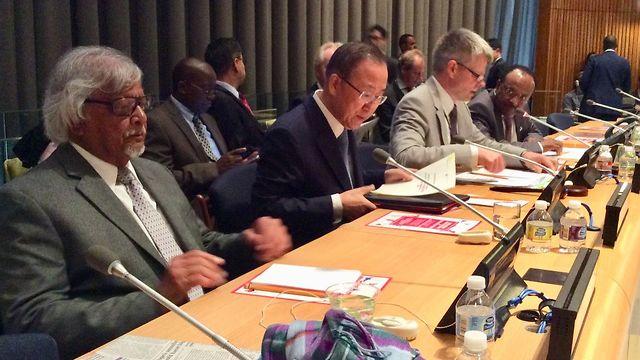 Arun Gandhi with then-UN chief Ban Ki-moon (Photo: Courtesy)