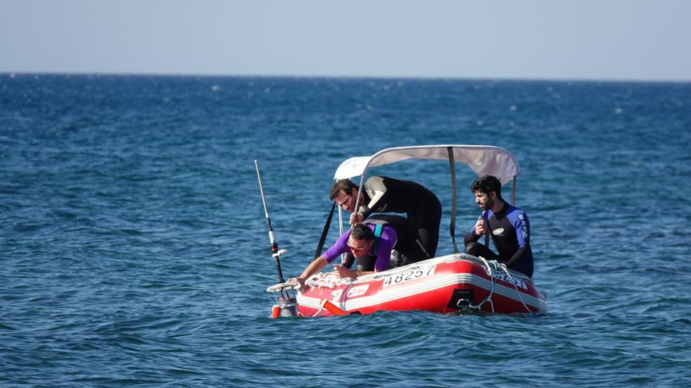 ניסוי המערכת בים (צילום: רועי דיאמנט, אוניברסיטת חיפה)