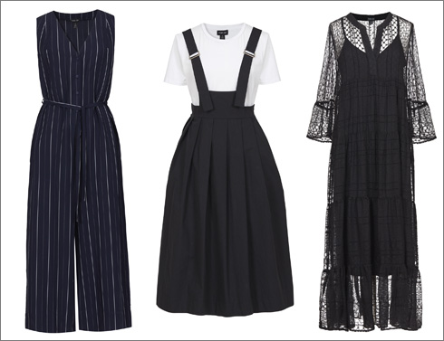 שמלת תחרה, 595 שקל | שמלת סרפן, 590 שקל | אוברול בדוגמת פסים, 790 שקל (צילום: דודי חסון)