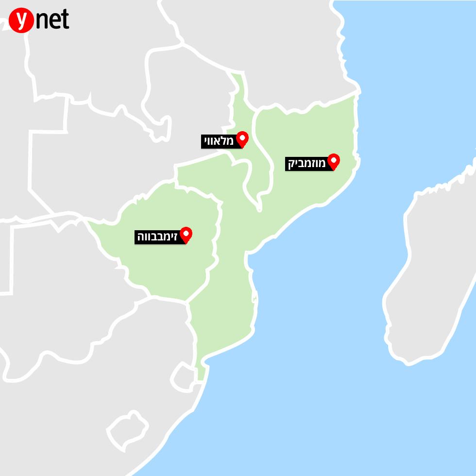 סופת ציקלון אפריקה מוזמביק מלאווי זימבבווה זימבבואה מפה אינפו גרפיקה ()