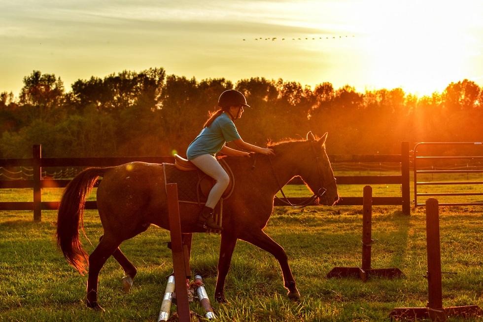 ילדה רוכבת על סוס ()