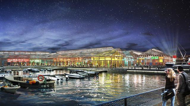 הדמיה של נמל יפו (מתוך תיק הנמל של מנהל ההנדסה של  עיריית תל אביב)