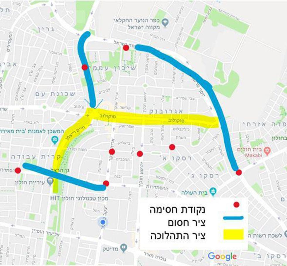 מפה חסימה כביש כבישים עדלאידע חולון פורים ()