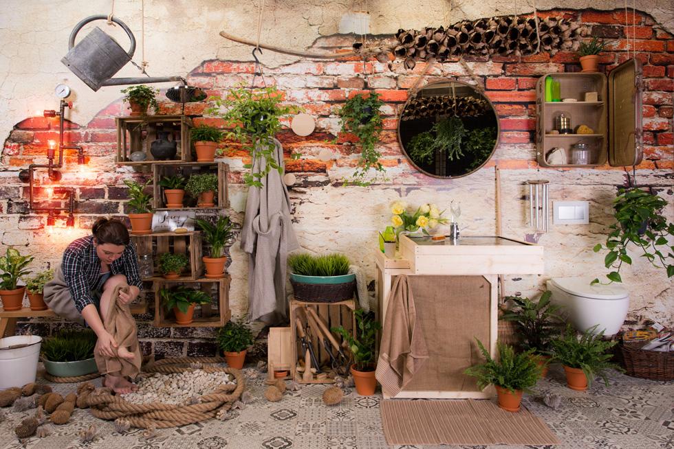 עוד קונספט: חדר רחצה ''טבעי'' עתיר עציצים, חומרים מהטבע ועוד (צילום: pop-up)