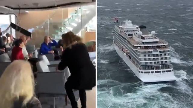 נורבגיה ספינת תענוגות נתקעה בים גלים ()