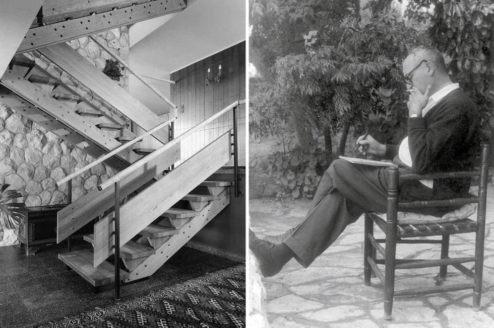 דב כרמי רושם, וחדר מדרגות בתכנונו. ''זו מתנה מאלוקים, אבל או שיש את זה או שאין'', אומרת בתו. ''אני מנסה להגיע לשם, אבל זה לא תמיד הולך'' (צילום: אלבום פרטי, פאול גרוס)