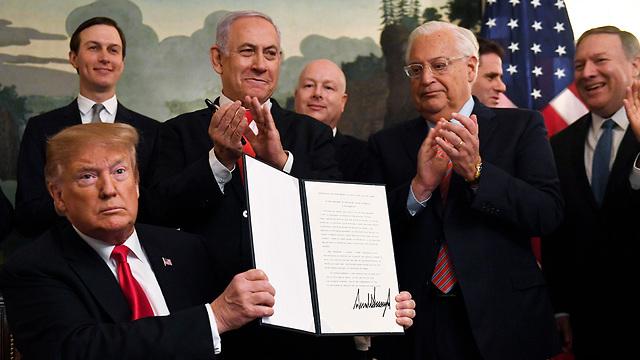 טקס חתימה הכרה ריבונות ישראל רמת הגולן (Photo: AP)