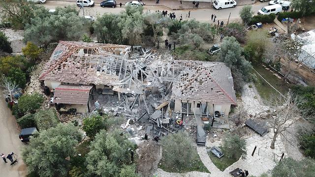 The house on Moshav Mishmeret destroyed by a Gaza rocket  (Photo: Yair Sagi)
