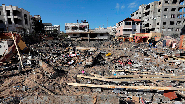 The remains of the office of senior Hamas official Ismail Haniyeh in Gaza City after it was hit by the IAF (Photo: AFP) (Photo: AFP)