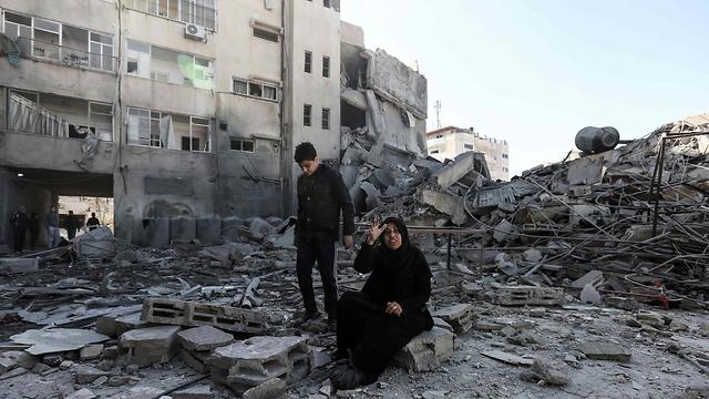 Destruction in Gaza after IAF attack (Photo: AFP)