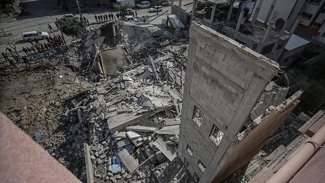 The remains of the office of Ismail Haniyeh following an IAF strike  (Photo: EPA)