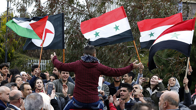 Syrians in Quneitra protesting Trump's declaration (Photo: AFP) (Photo: AFP)