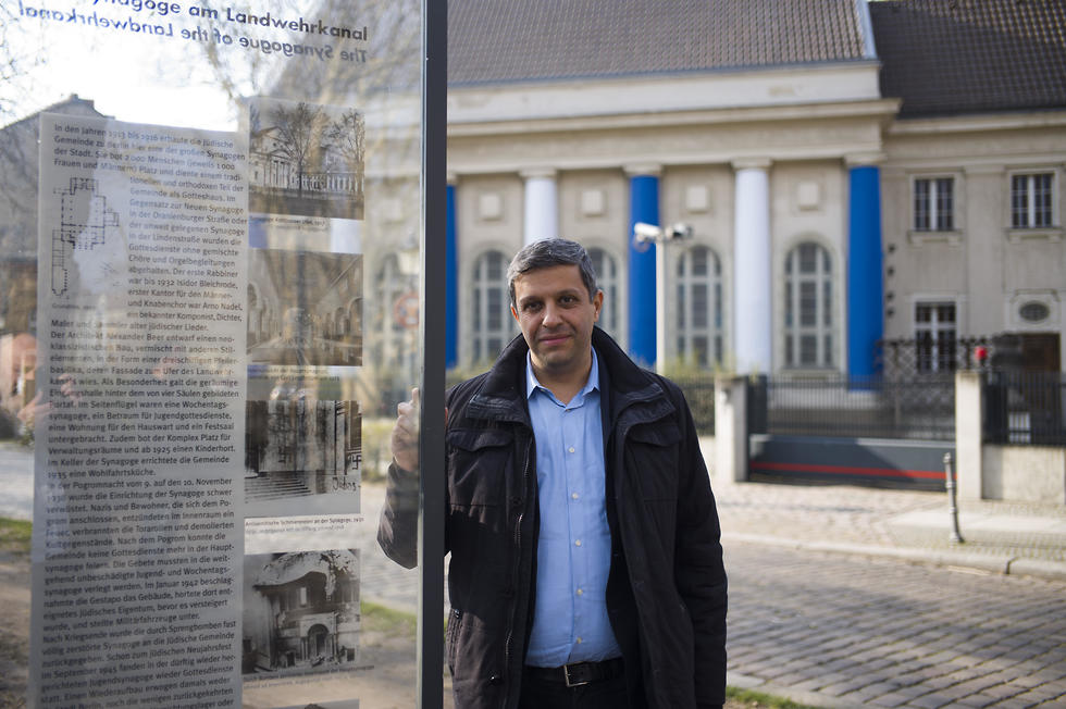 Palestinian-German politician Raed Saleh poses for a photo near a remembrance plaque
