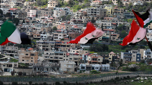 A picture taken from the Syrian town Ain al-Tineh shows the Druze town of Majdal Shams