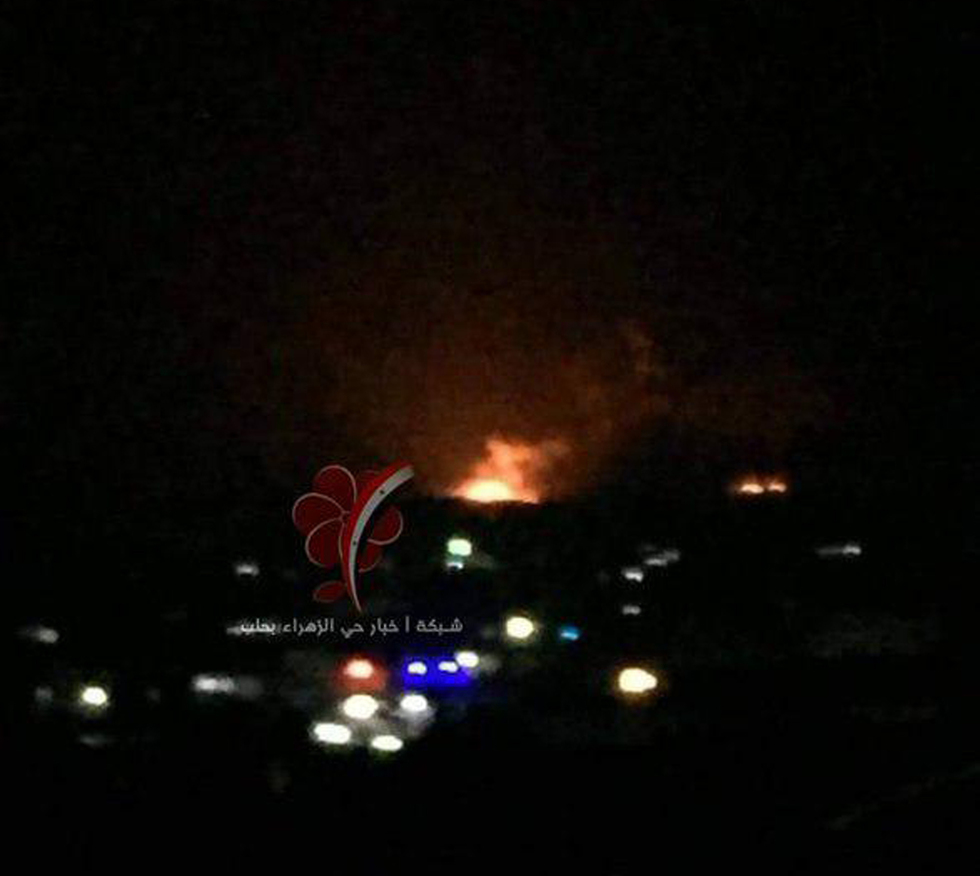 A fireball in Aleppo after an airstrike attributed to Israel on a weapons depot said to belong to Iran, March 27, 2019