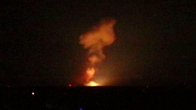 A fireball in Aleppo after an airstrike attributed to Israel on a weapons depot said to belong to Iran