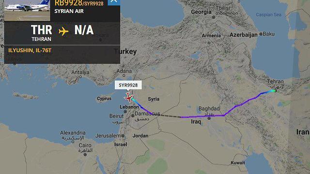 Маршрут самолета сирийских ВВС