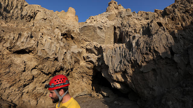 Boaz Langford, a member of the Hebrew University of Jerusalem Cave Research Center, at the entrance to the Malham salt cave in Mount Sodom, March 27, 2019