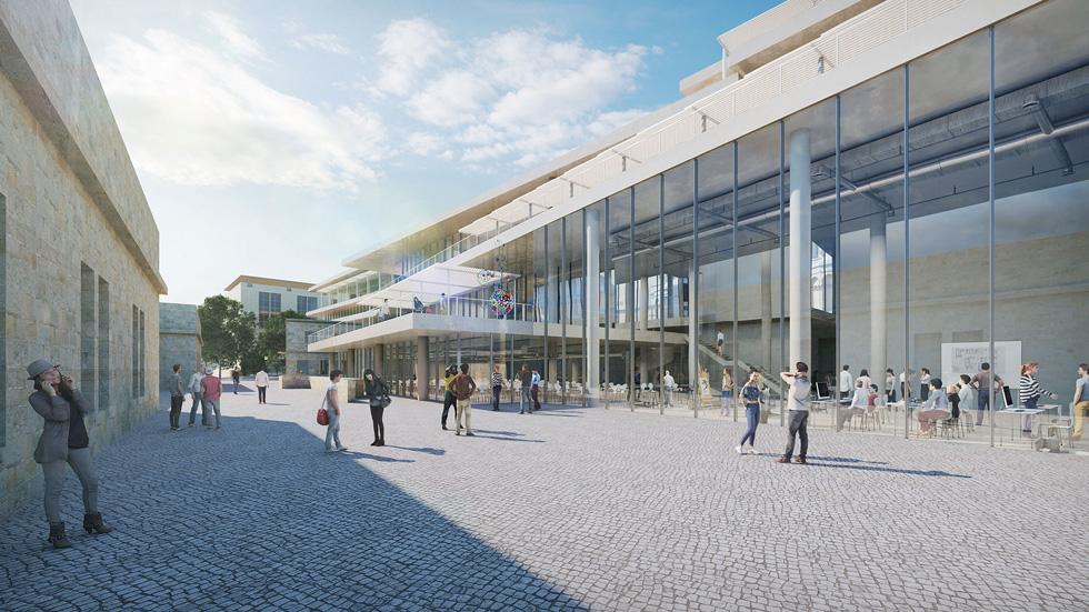 הקמפוס החדש והמסקרן של בצלאל אמור לקום במגרש הרוסים ב-2022. המחלקה לאדריכלות תעבור בו, ובמקביל תמשיך לאכלס את הבניין ההיסטורי (הדמיה: בצלאל, אקדמיה לאמנות ועיצוב, ירושלים)