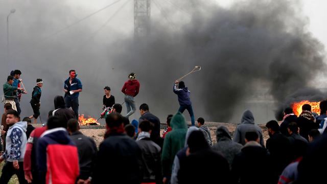 Saturday's Gaza border riots (Photo: AFP)