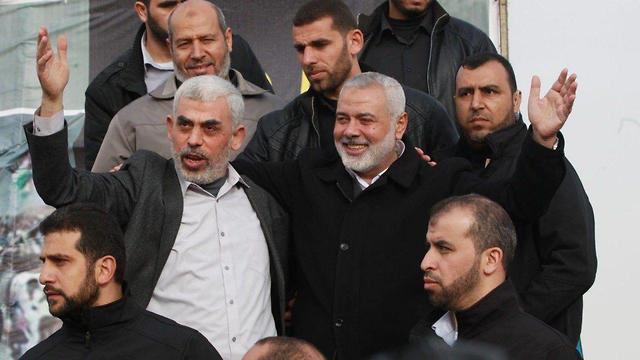 Hamas leaders Ismail Haniyeh and Yaha Sinwar in Gaza