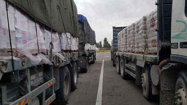 Transfers of  goods to Gaza at Kerem Shalom Crossing (Photo: Barel Efraim)