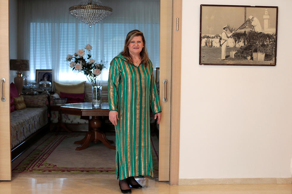 Suzanne Harroch, a Jewish Moroccan singer poses for a portrait in her house in Rabat, Morocco
