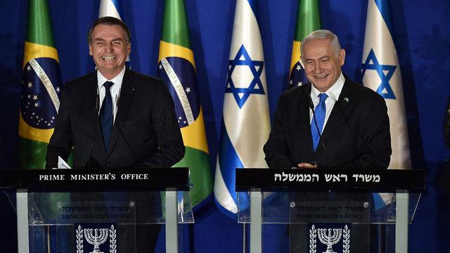Netanyahu and Bolsonaro (Photo: Yoav Dudkowitz)