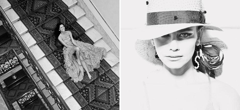 """סנדי: כובע ג'אסטין האט, מטפחת זארה, עגיל modernmuseshop.com, שמלה זהבית תשובה, ה' באייר 18 ת""""א  (צילום : איתן טל סטיילינג: לימור ריחאנה)"""