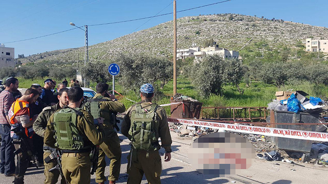 The scene of the Wednesday stabbing attack near Huwara, West Bank (Photo: Avraham Binyamin)