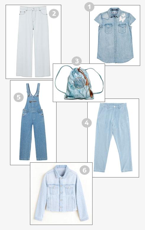 1. חולצת ג'ינס, 399 שקל, ריפליי | 2. מכנסיים מתרחבים, 299 שקל, צ'יפ מאנדיי בבל & סו | 3. תיק, 500 שקל, רוסלו שמריה | 4. מכנסיים עם קפלים, 690 שקל, הולילנד | 5. אוברול ג'ינס, 649 שקל, לי | 6. ז'קט, 299.90 שקל, מנגו (צילום: רוסלו, שי נייבורג, מנגו, עופר בארי, מיכאל טיופול, ריפליי  )