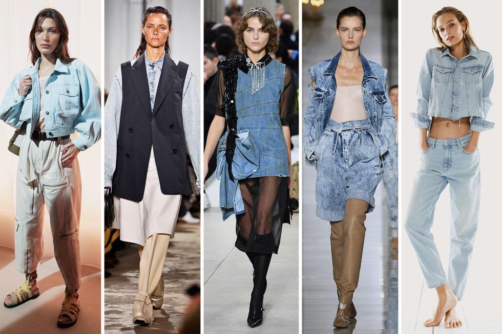 כמה שיותר ג'ינס, יותר טוב. מנגו, בלמן, מיו מיו, פרואנזה סקולר ואלברטה פראטי (צילום: AP, Vittorio Zunino Celotto, Pascal Le Segretain/GettyimagesIL)