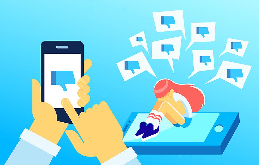 אילוסטרציה של שיימינג ברשת החברתית (צילום: Shutterstock)