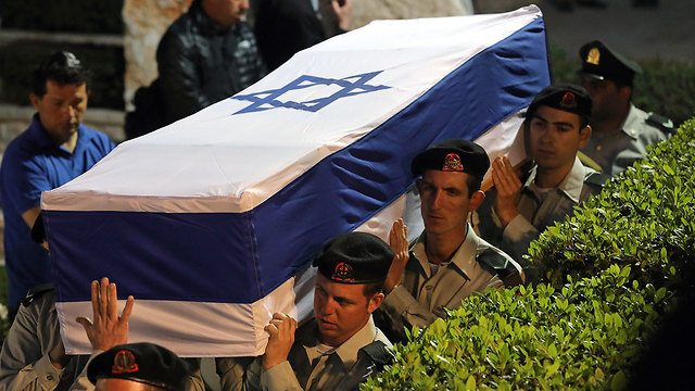 The funeral for Zachary Baumel at Mount Herzl military cemetery in Jerusalem (Photo: EPA)