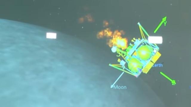 הדמיה של התמרון של החללית ליד הירח (הדמיה: spaceIL והתעשייה האווירית)