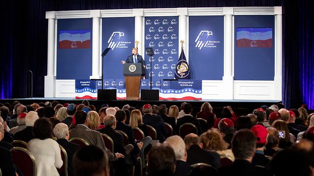 TUS President Donald Trump at a Republican Jewish Coalition meeting Saturday (Photo: EPA)