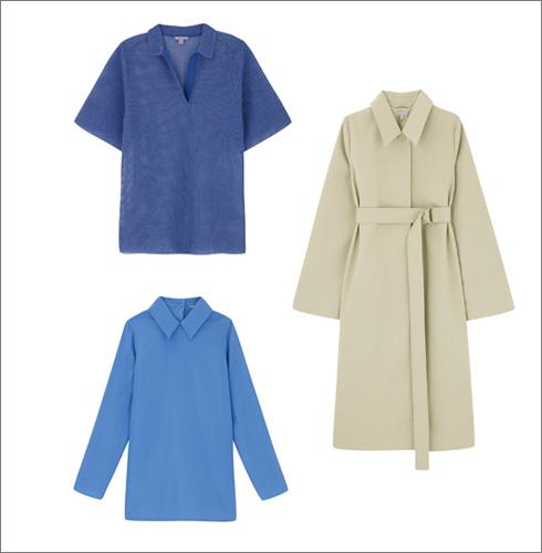 מעיל טרנץ', 1,150 שקל   חולצת פולו כחולה, 355 שקל   חולצת משי כחולה, 600 שקל