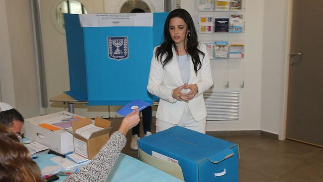 Ayelet Shaked on Election Day in Tel Aviv (Photo: Moti Kimchi)