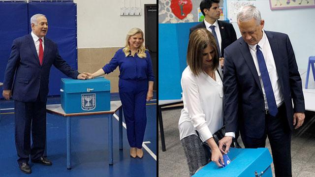 Benjamin Netanyahu, left, and Benny Gantz voting Tuesday (Photo: Yael Friedson, Reuters)