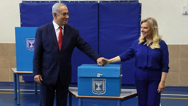Супруги Нетаниягу голосуют. Фото: Хаим Цах, ЛААМ